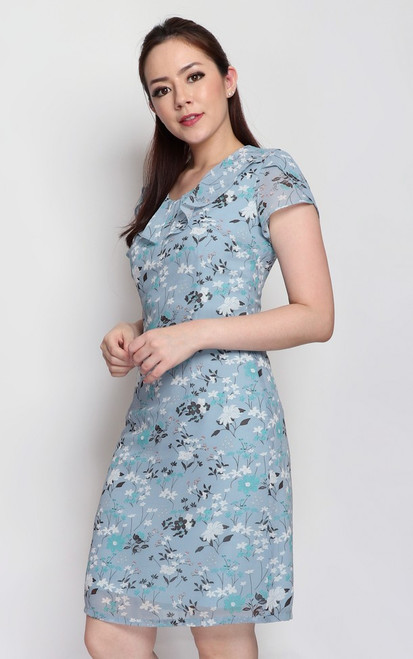 Ruffle Collar Floral Dress - Blue