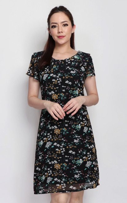 Ruffle Collar Floral Dress - Black