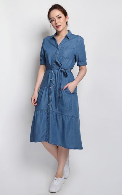 Dip Hem Denim Shirt Dress