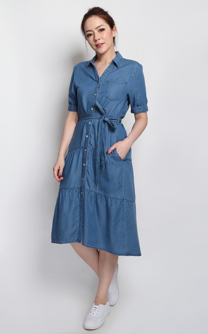 Dip Hem Denim Shirt Dress