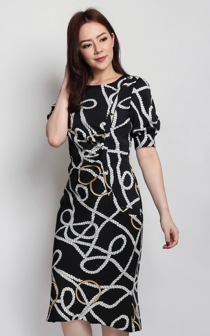 Chain Print Ruched Dress