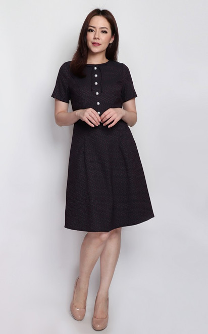 Pearl Buttons Dress - Midnight Blue