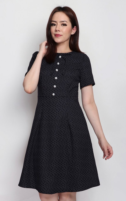 Pearl Buttons Dress - Black