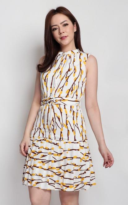 Pleated Hem Printed Dress - White