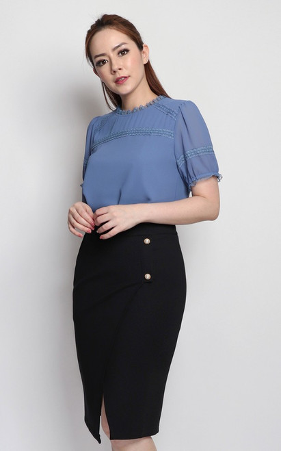 Lace Trim Chiffon Top - Blue