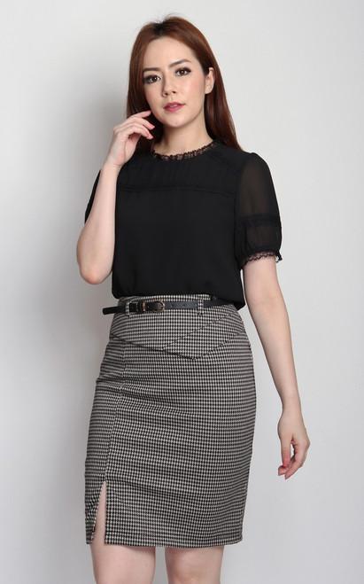 Lace Trim Chiffon Top - Black