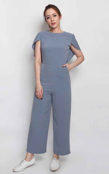 Cape Jumpsuit - Dusty Blue