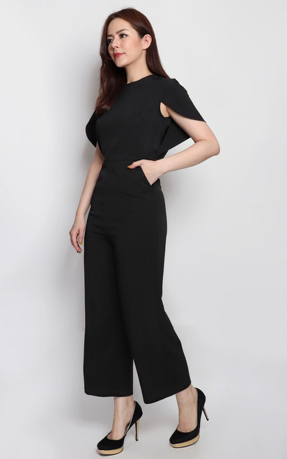 Cape Jumpsuit - Black