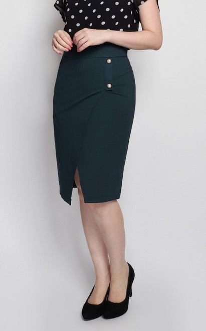 Overlap Pencil Skirt - Forest Green