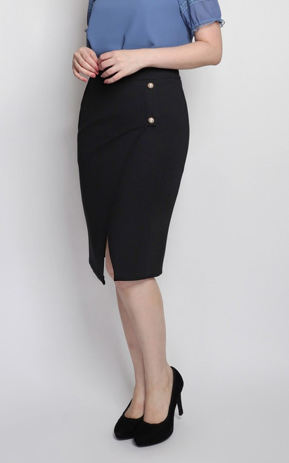 Overlap Pencil Skirt - Black