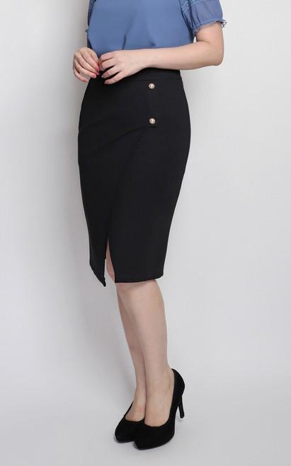 Overlap Pencil Skirt - Black