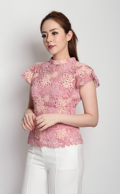 Guipure Lace Top - Pink