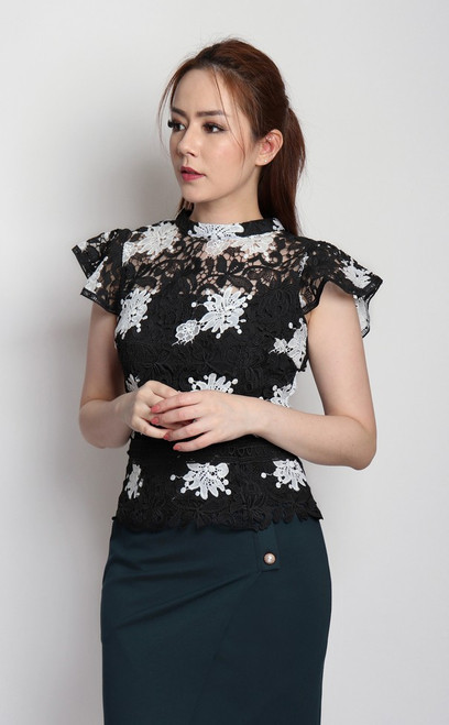 Guipure Lace Top - Black