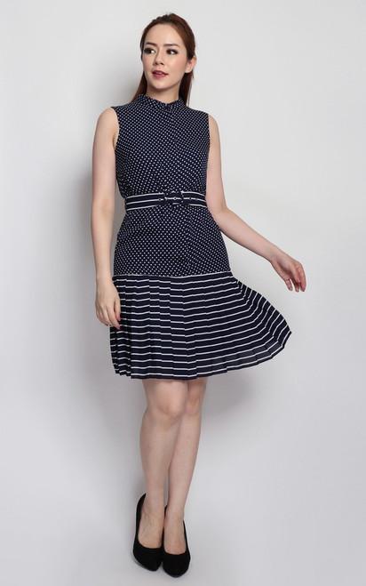 Dots & Stripes Dress - Navy