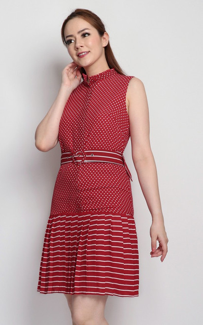 Dots & Stripes Dress - Red