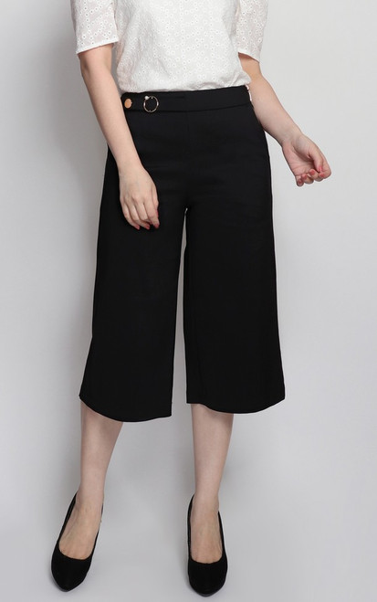 Side Buckle Culottes - Black