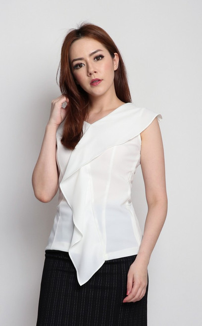 Asymmetrical Drape Top - White