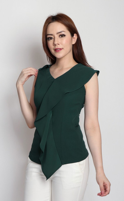 Asymmetrical Drape Top - Forest Green