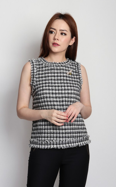 Checkered Tweed Top - Black