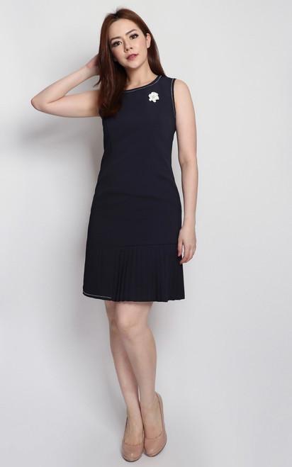Side Pleated Dress - Navy