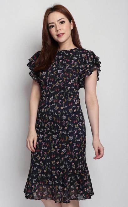 Botanical Ruffle Sleeves Dress
