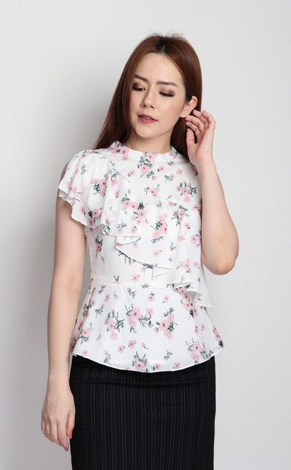 Floral Frill Peplum Top - White