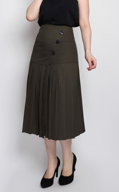 Pleated Midi Skirt - Olive