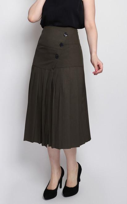 Pleated Midi Skirt - Olive
