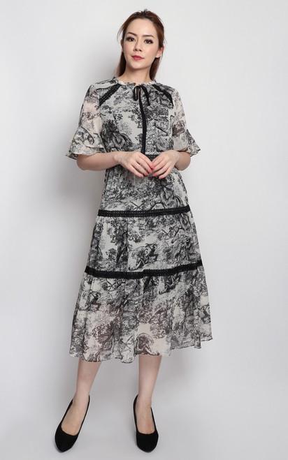 Toile Print Midi Dress
