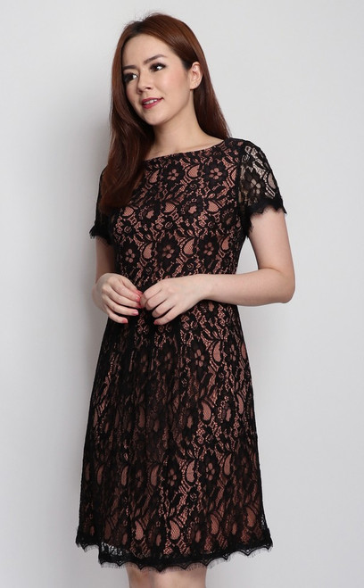 Lace Overlay Dress - Black