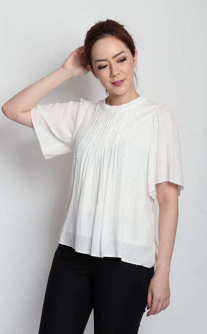 Textured Flared Sleeves Top - White