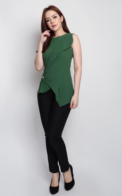 Asymmetrical Foldover Top - Green