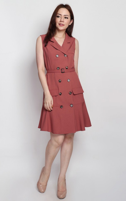 Flounce Trench Dress - Rosewood