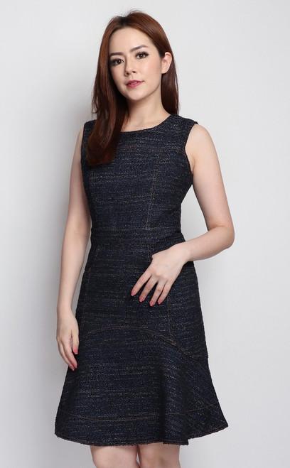 Flounce Tweed Dress - Midnight Blue
