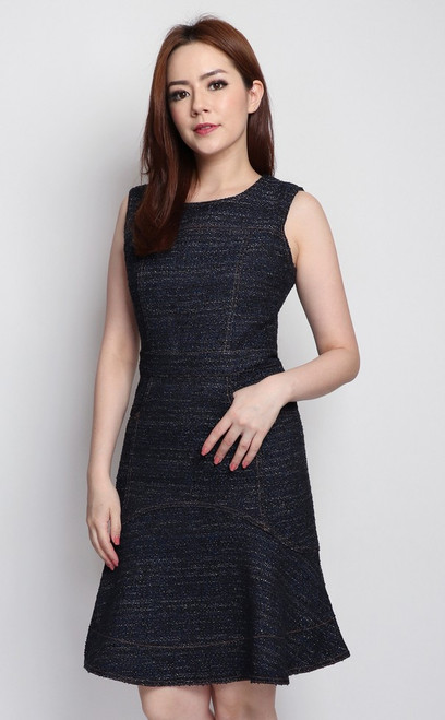 Flounce Tweed Dress - Midnight Blue