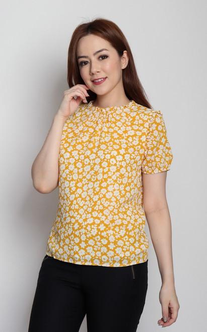 Floral Ruffled Neck Top - Marigold