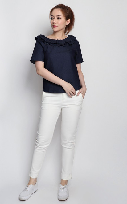 Denim Ruffle Collar Top