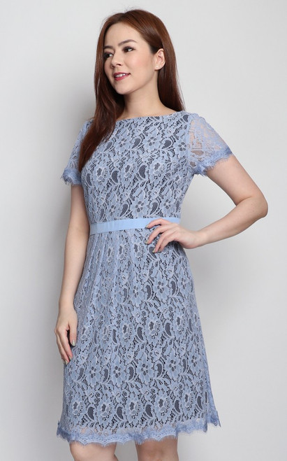 Lace Overlay Dress - Baby Blue