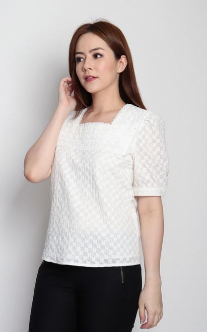 Embroidered Square Neck Top - White