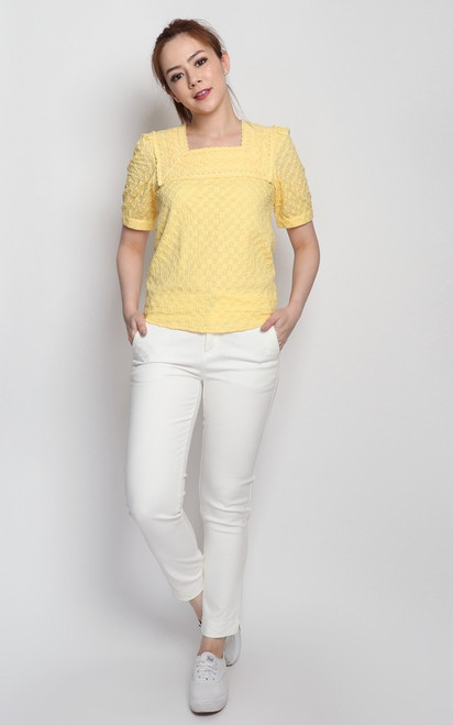 Embroidered Square Neck Top - Buttercup