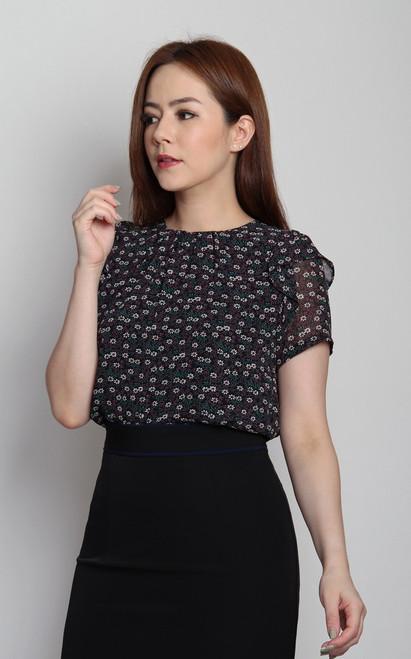 Floral Chiffon Blouse - Black