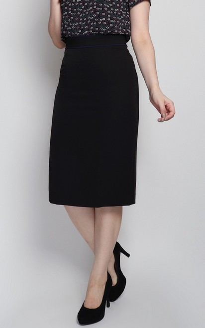 Contrast Trim Pencil Skirt - Black