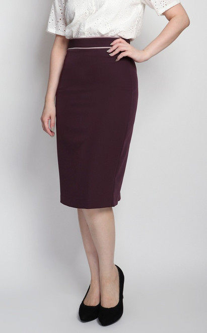 Contrast Trim Pencil Skirt - Plum
