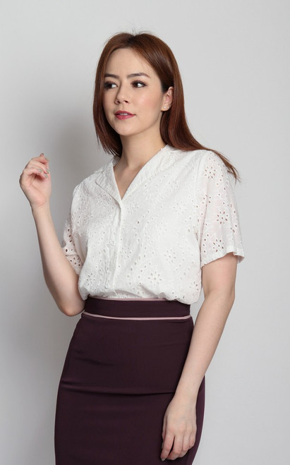 Eyelet Button Up Blouse - White