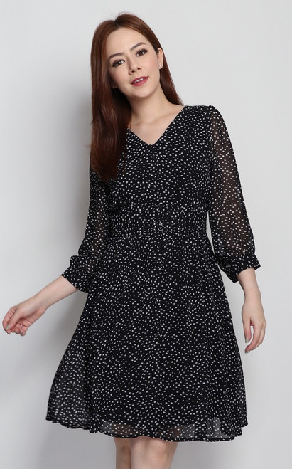 Dotted Flare Dress - Black
