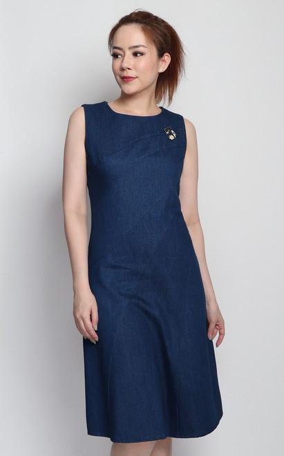 Contour Seamed Denim Dress