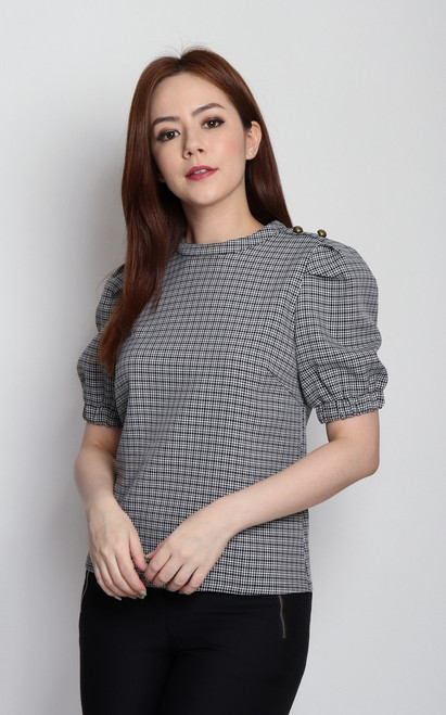 Checkered Puff Sleeves Blouse