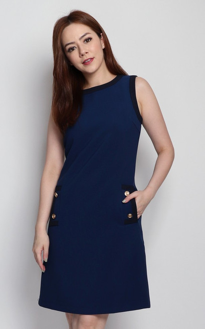 Pockets Shift Dress - Navy