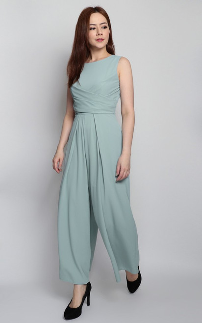 Wrap Bodice Jumpsuit - Soft Mint