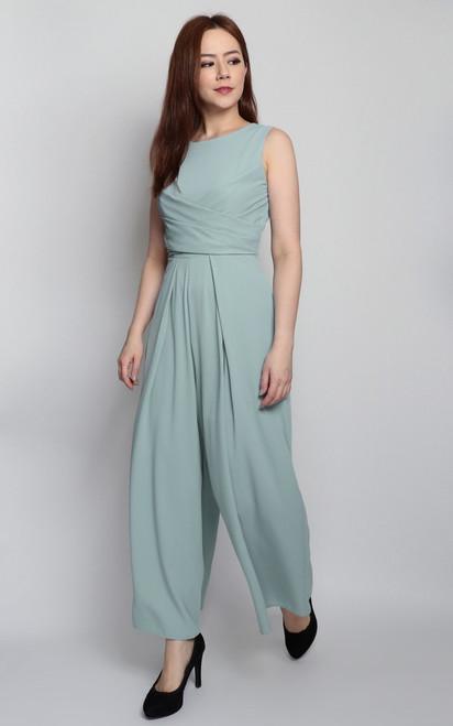 Wrap Bodice Jumpsuit - Soft Mint